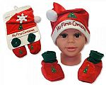 Baby Hat and Booties Gift Set - My First Christmas - Red