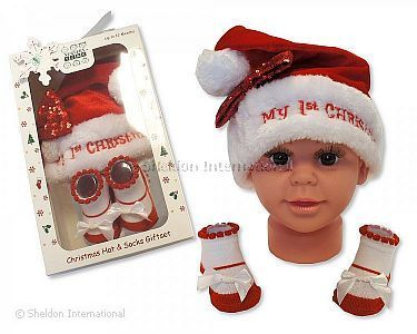 Baby Girls Hat and Socks Gift Set - My First Christmas - Wholesale