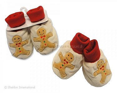 Baby Christmas Booties - Gingerbread Man - Wholesale