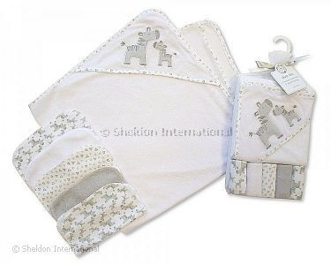Baby Hooded Towel and Wash Cloth Set - Grey - Wholesale