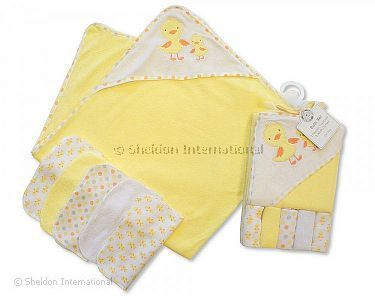 Baby Hooded Towel and Wash Cloth Set - Lemon - Wholesale