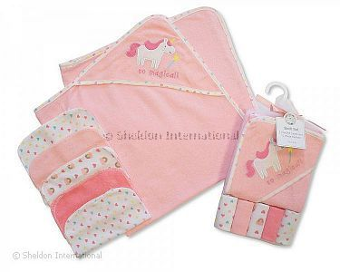 Baby Hooded Towel and Wash Cloth Set - Pink - Wholesale