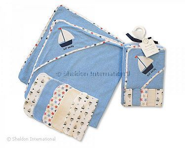 Baby Hooded Towel and Wash Cloth Set - Sky - Wholesale