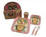 Baby 5 pcs Bamboo Fibre Meal Set - Owl