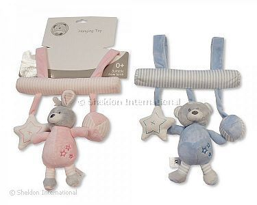 Baby Hanging Toy with Rattle and Squeaker - Rabbit/Bear - Wholesale