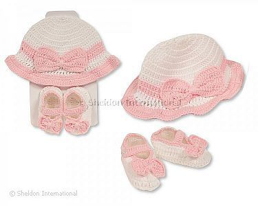Baby Hat and Booties Set - Girls - Wholesale