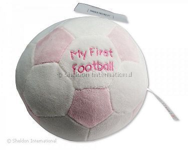 ' My First Football' Baby Soft Toy with Rattle -  Pink - Wholesale