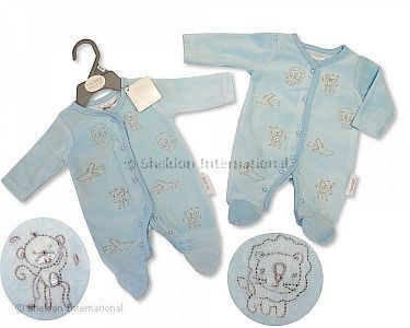Premature Baby Boys Velour All in One - Jungle - Wholesale