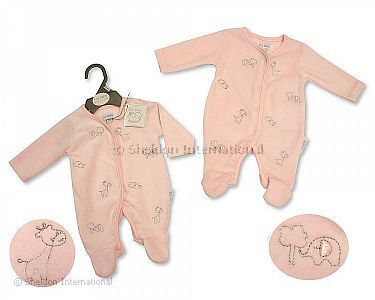 Premature Baby Girls Velour All in One - Animals - Wholesale