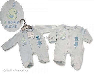 Premature Baby Boys Velour All in One - Little Ducks - Wholesale