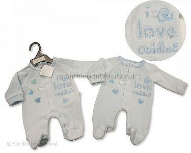 Premature Baby Boys Velour All in One - I Love Cuddles - Wholesale