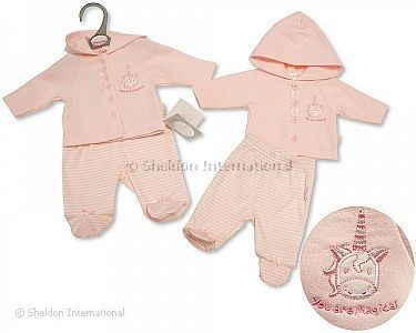 Premature Baby Girls Hooded 2 pcs Set - Unicorn - Wholesale