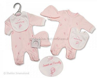 Premature Baby Girls All in One with Bib and Hat - Sweet As Candy - Wholesale