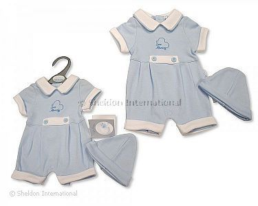 Premature Baby Boys Romper with Hat - I Love Mummy - Wholesale