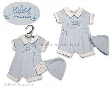 Premature Baby Boys Romper with Hat - Baby Prince - Wholesale