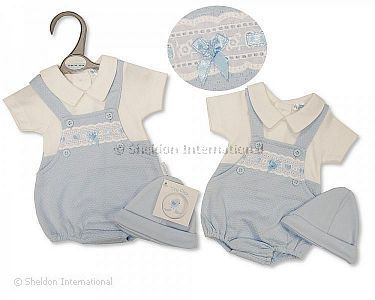 Premature Baby Boys Faux 2 pcs Dungaree Set with Lace and Hat - Wholesale