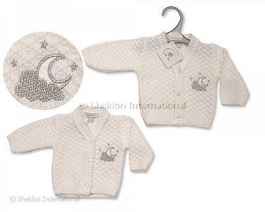 Premature Baby Knitted Cardigan - Moon and Stars - Wholesale